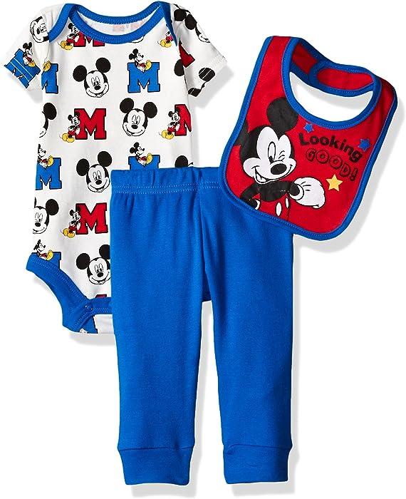 49934493fa608 Amazon.com: Disney Baby Boys' 3 Pack Mickey Mouse Bodysuit, Blue, 0 ...