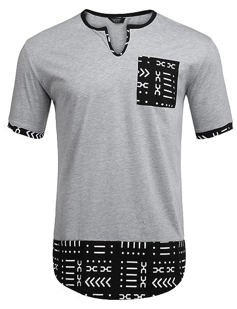 6d31e886a COOFANDY Mens Hipster Hip Hop Aztec Graphic Print T-Shirt Henley Shirt:  Amazon.ca: Clothing & Accessories