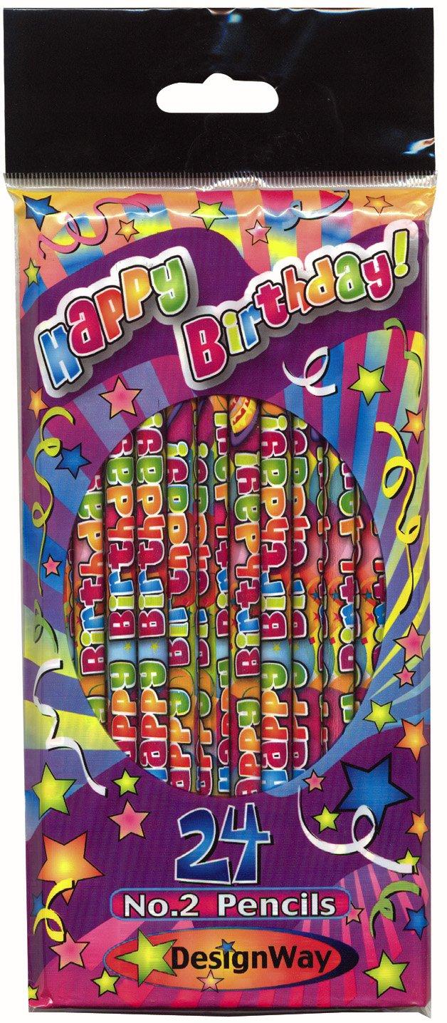 DesignWay Happy Birthday Pencil, 24-Pack