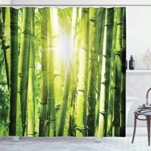 "Ambesonne Asian Shower Curtain, Bamboo Forest with Morning Sunlight Sun Beams Through Trees Jungle Scene, Cloth Fabric Bathroom Decor Set with Hooks, 84"" Long Extra, Lime Green Yellow"