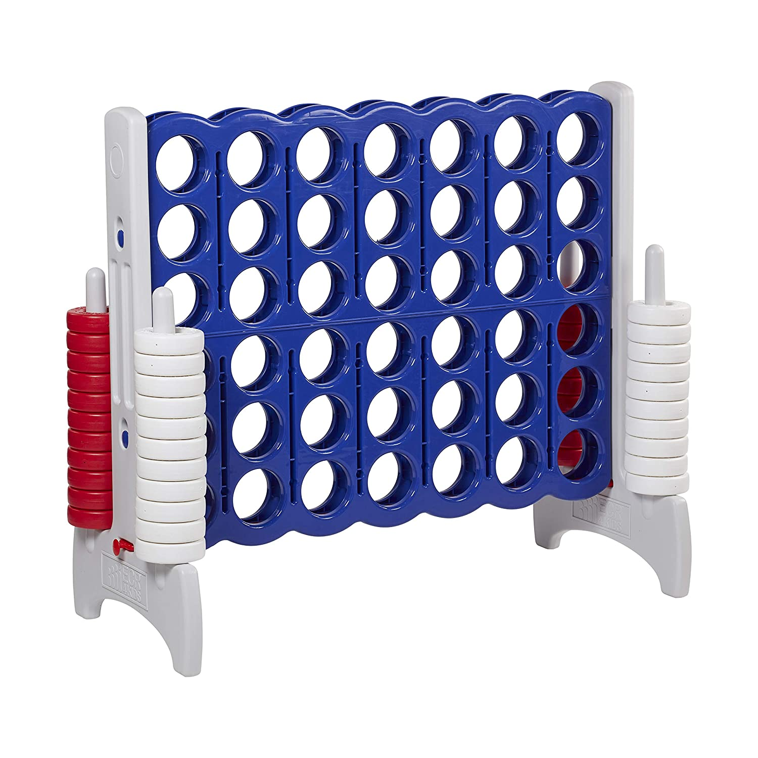 4 Feet Tall Oversized 4-in-A-Row Fun for Kids Adults and Families White Indoors//Outdoor Yard Play and Blue ECR4Kids Jumbo 4-to-Score Giant Game Set Red