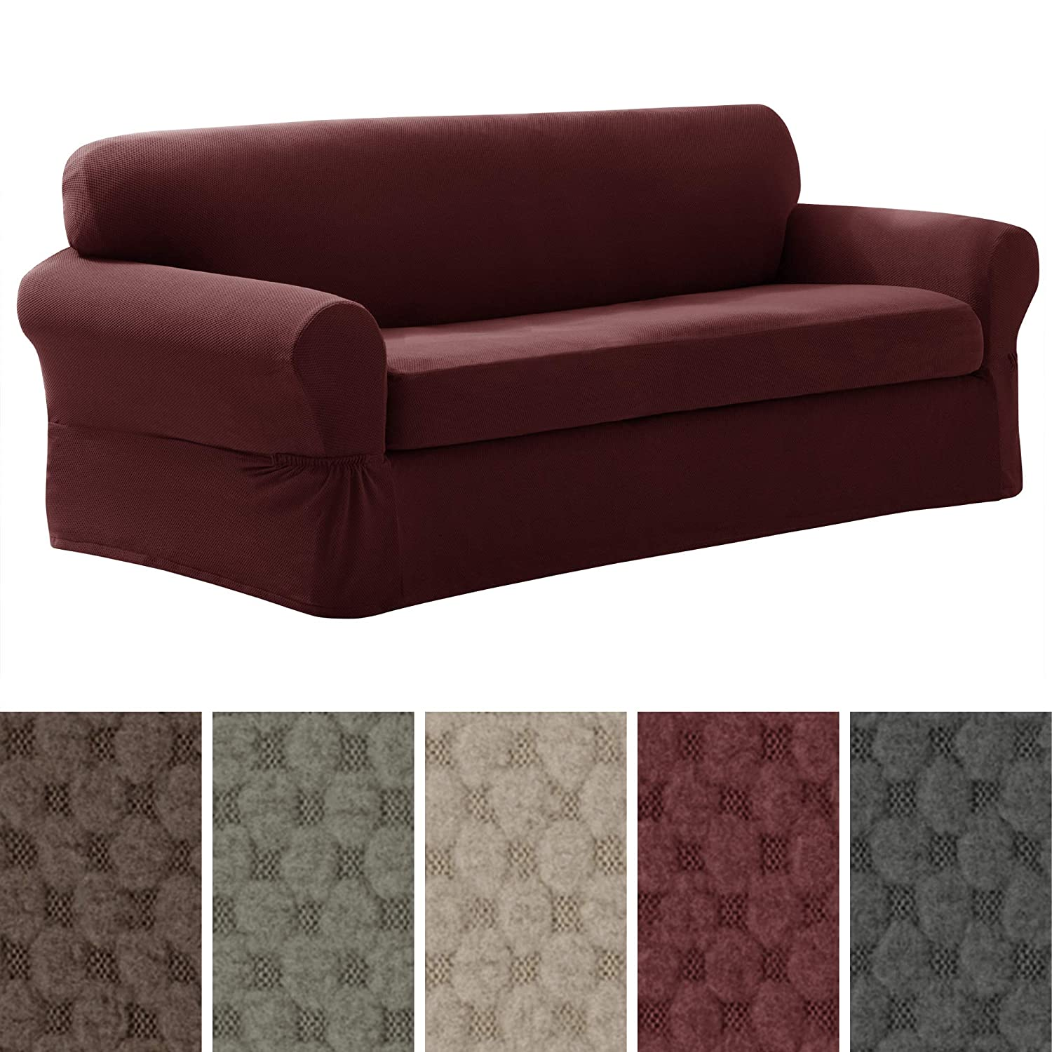 Maytex Pixel Stretch 2-Piece Slipcover Sofa, Wine 4300511