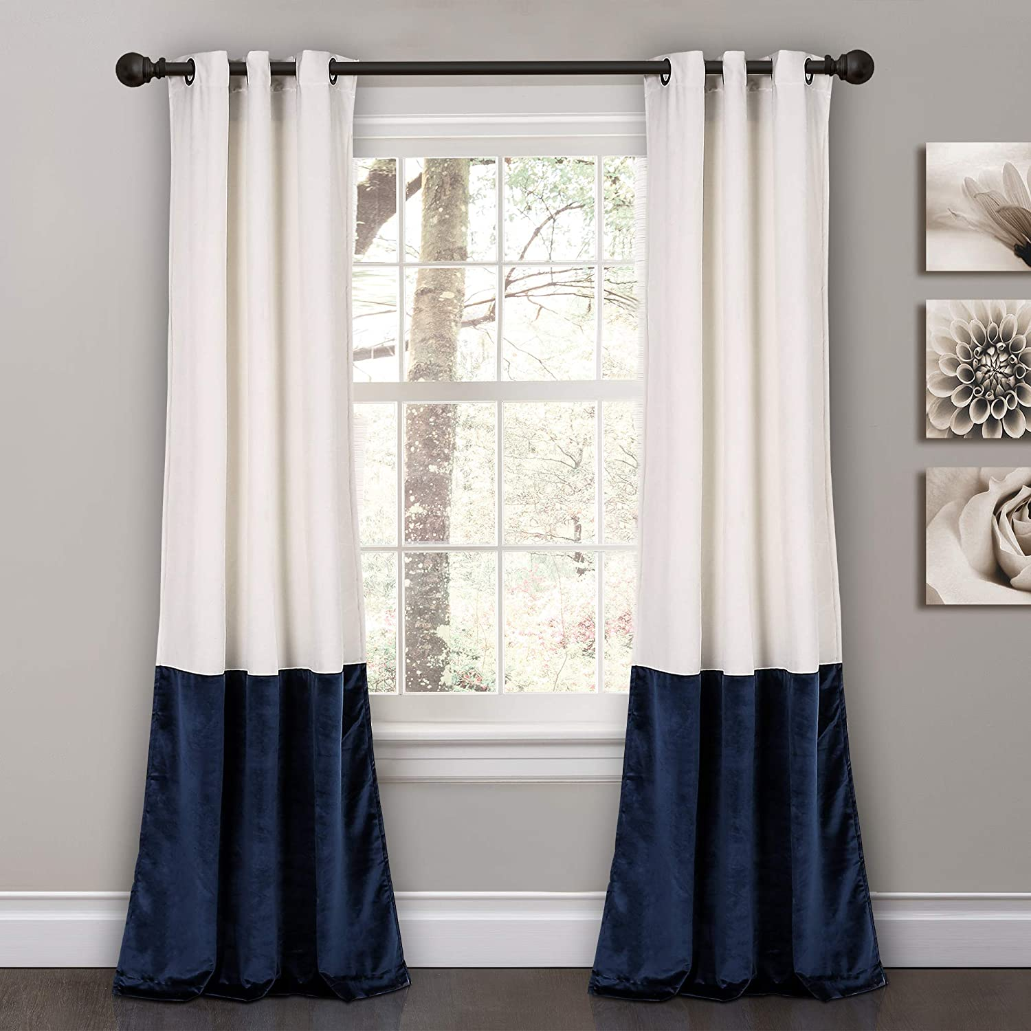 "Lush Decor Prima Velvet Curtains Color Block Room Darkening Window Panel Set for Living, Dining, Bedroom (Pair), 84"" L, Navy"