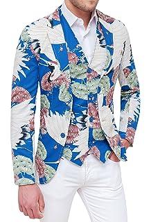 Evoga Giacca con Gilet Uomo Blu Floreale Slim Fit Elegante in Cotone ... bd9f6ef8c7d