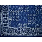 "Hand Block Printed Square Dabu Cotton Tablecloth 70"" x 70"" Indigo Blue"