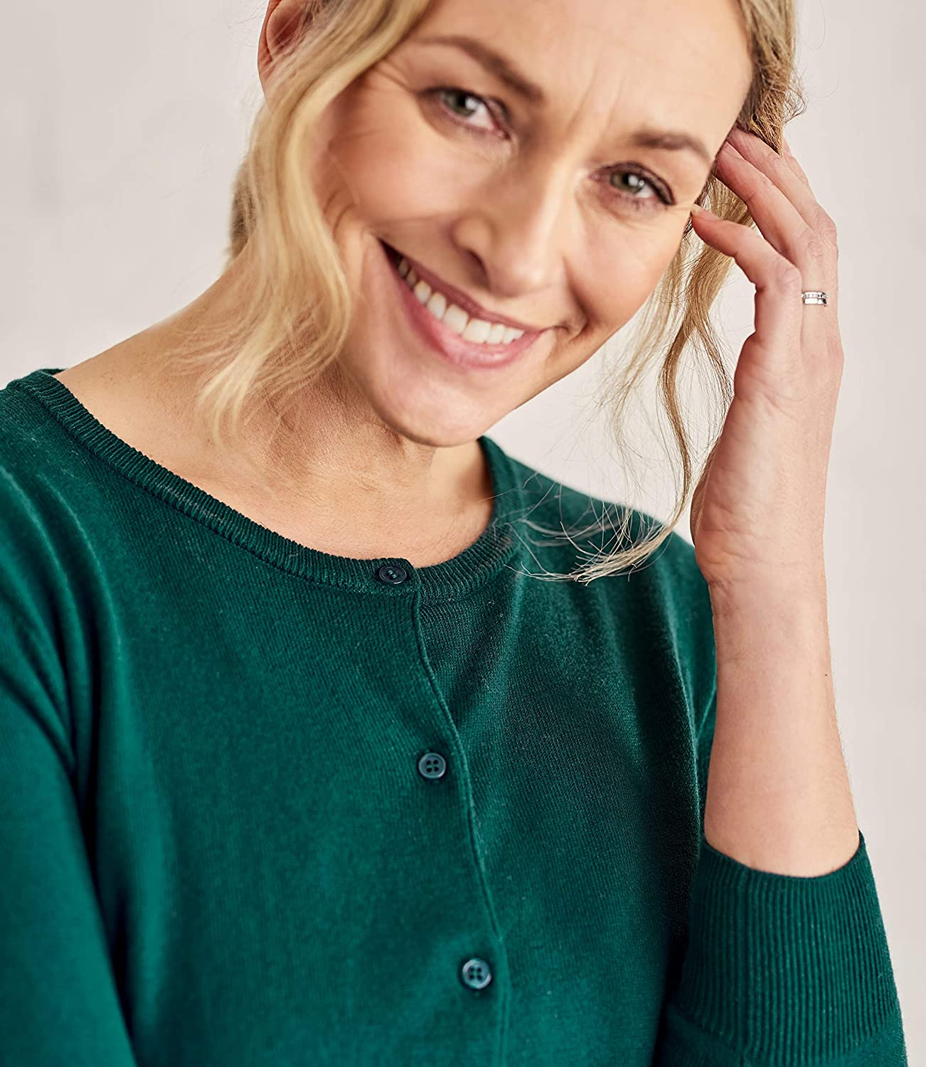 Wool Overs Womens Silk and Cotton 3//4 Sleeve Crop Cardigan Hunter Green L