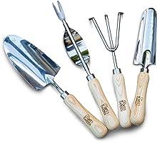 Cate's Garden 4 Piece Premium Garden Hand Tool Set - Vintage-Style American Ash Handles – Includes Trowel, Transplanter, Hand Weeder and Cultivator Hand Rake