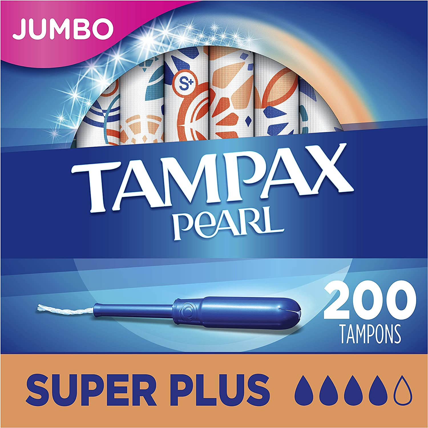 18 Count Tampax Pearl Tampons with Plastic Applicator Unscented Super Plus Absorbency