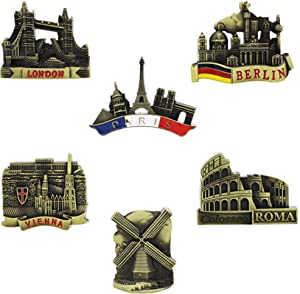 Juvale Metal Refrigerator Souvenir Magnets (6 Pack), European Landmarks