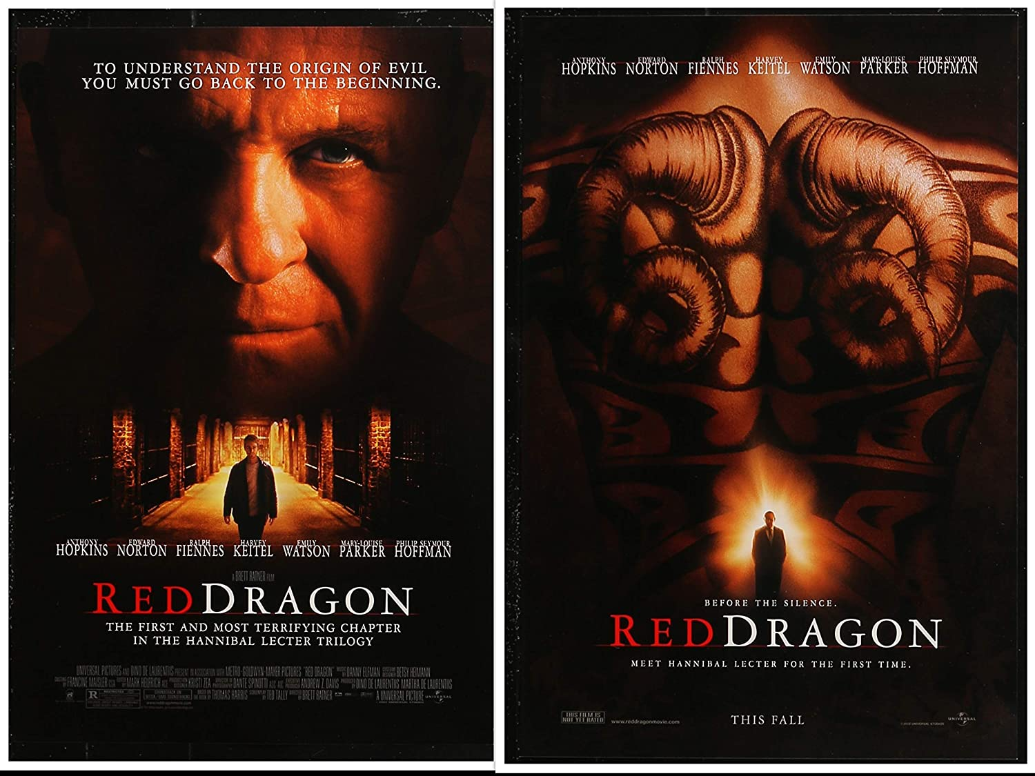 Red Dragon 11 5 X17 D S Original Promo Movie Poster 2002 Anthony Hopkins Edward Norton At Amazon S Entertainment Collectibles Store