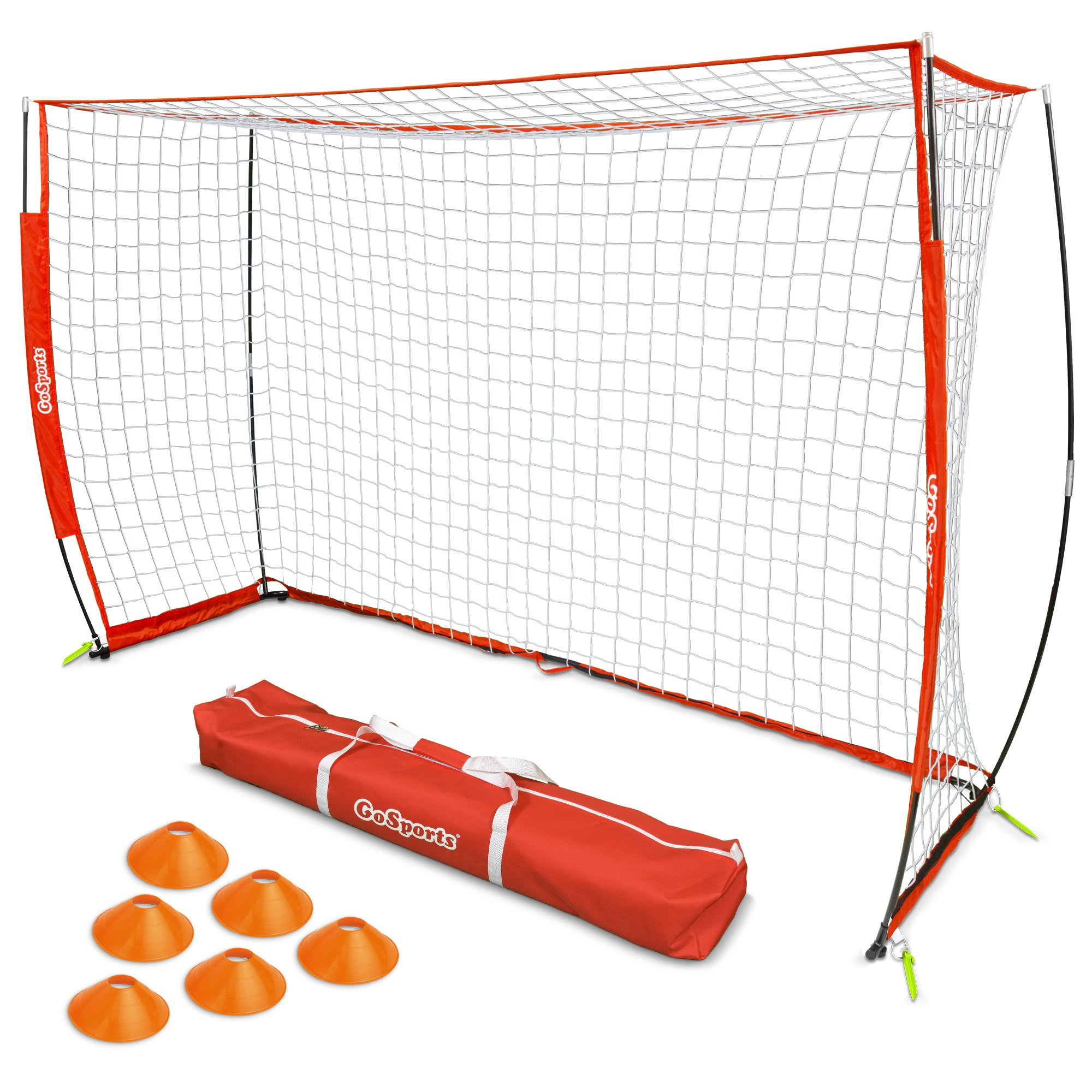 GoSports ELITE Futsal Soccer Goal - 3M x 2M Size, Foldable Bow Frame and Net - Play & Train Like The Pros, Includes Carry Bag and Agility Cones
