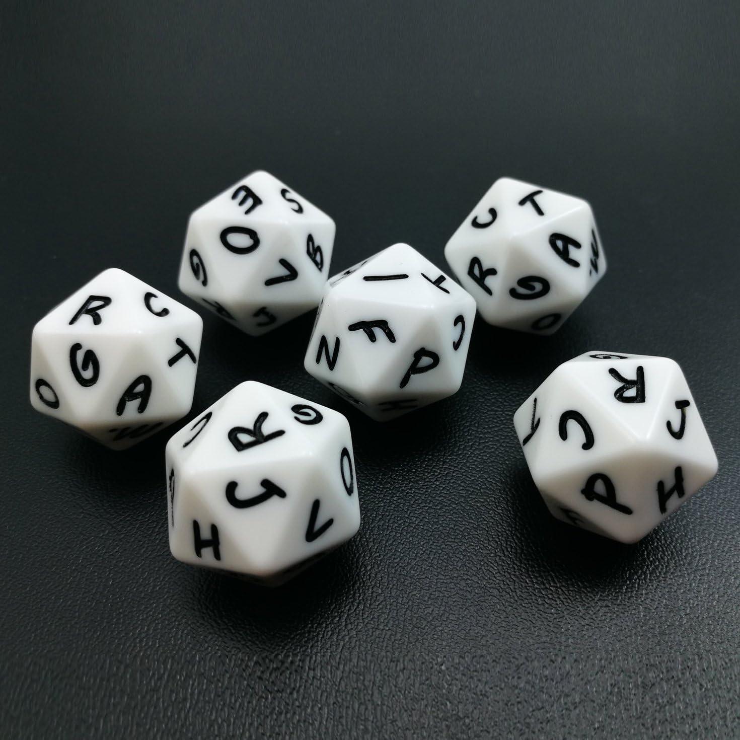 Bescon - Dados de alfabeto de 20 caras A-T mayúsculas, 20 caras, juego de 3 piezas: Amazon.es: Juguetes y juegos