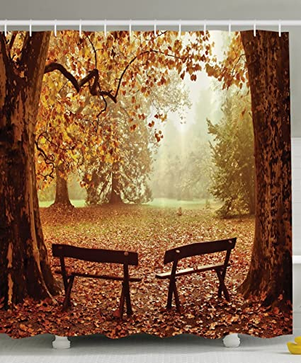 Ambesonne Scenic Decor Collection, Fall Foliage Leaves Benches Forest Tree  View Nature Picture Art Paintings