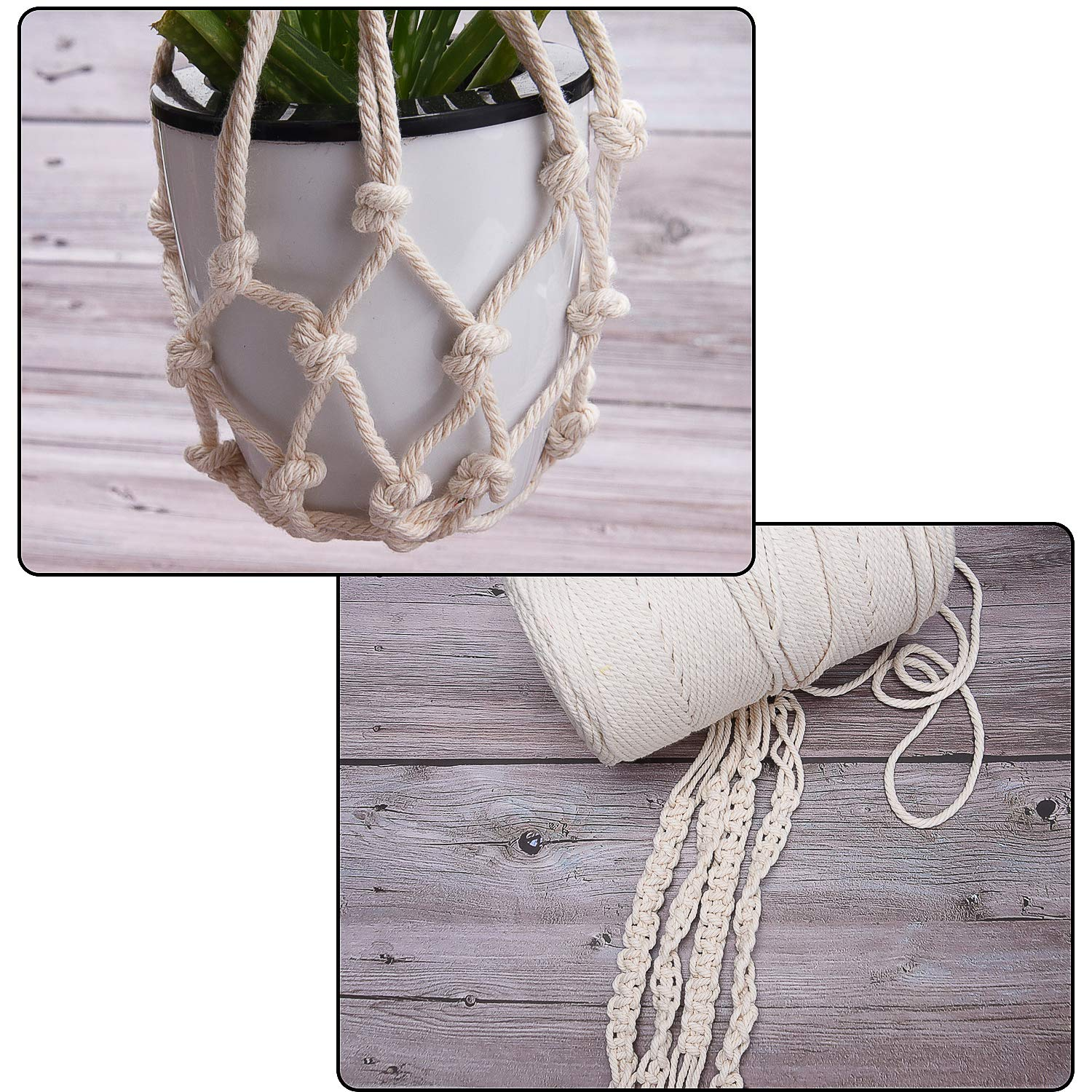 Livder Macrame Cord 4mm x 240 Yards String Cotton Rope for Wall Hangings Plant Hangers Decorative Projects and Knits Crafts