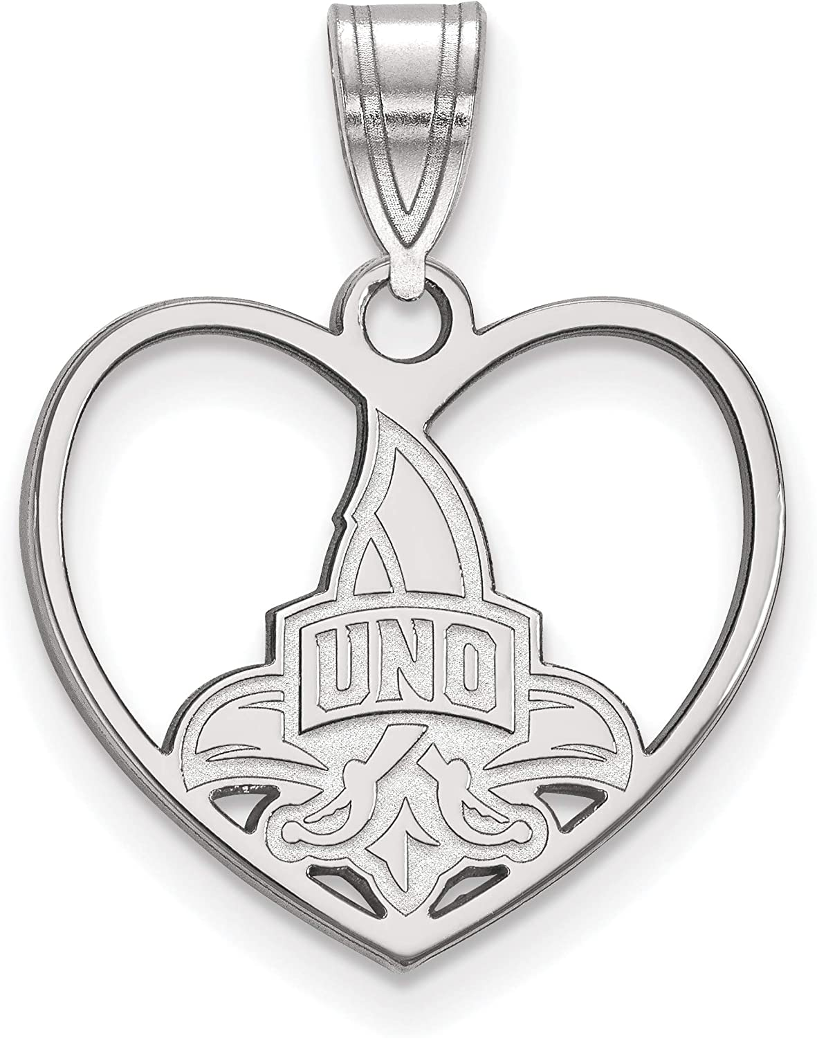 University of New Orleans Privateers School Logo on Heart Shaped Pendant in Sterling Silver 15x17mm