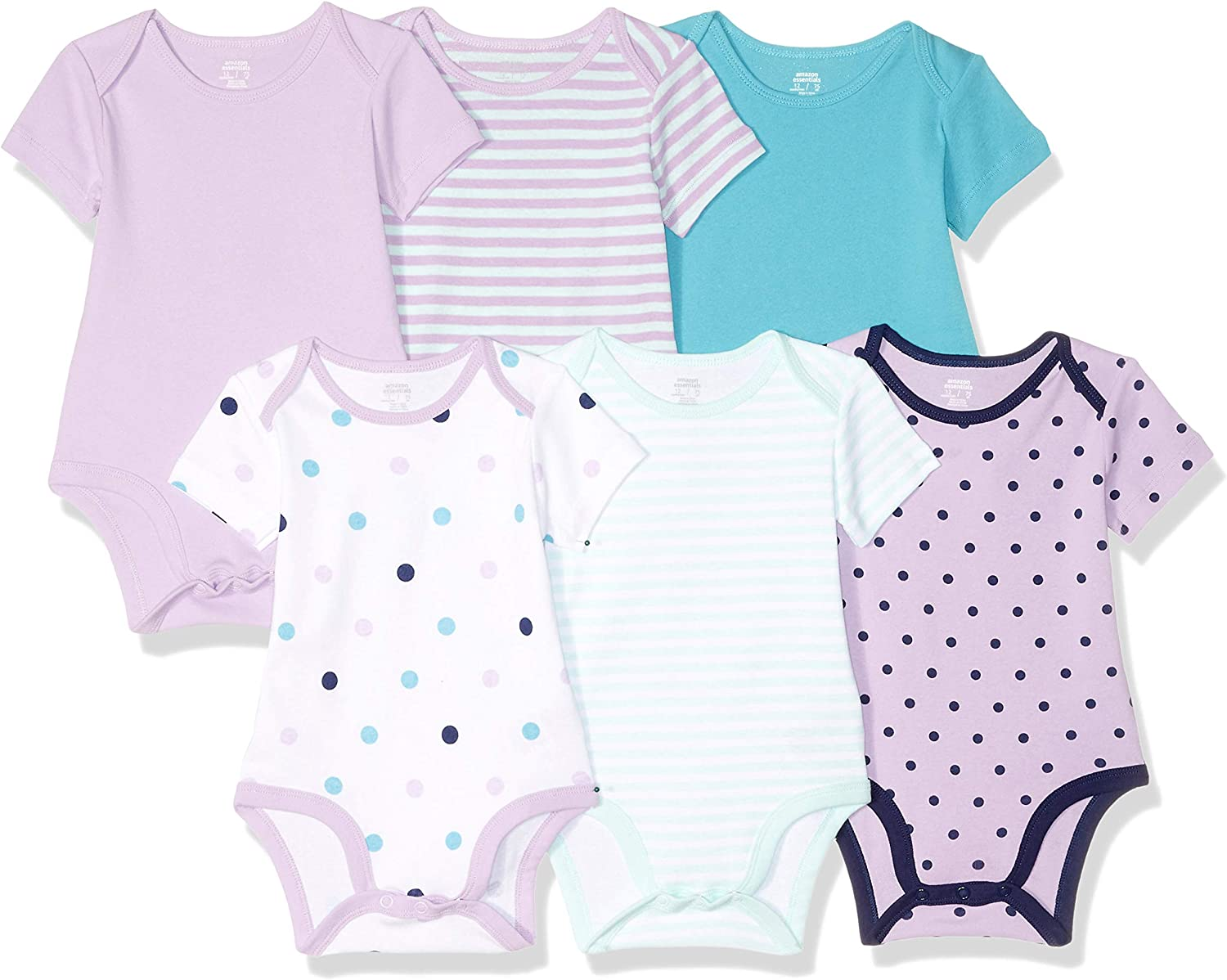 Girl Heart Stripe 12M Essentials Baby 6-Pack Short-Sleeve Bodysuit