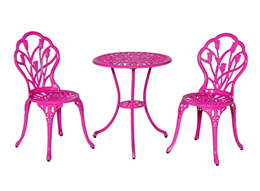 Meadow Décor Bistro Table And Chair Set, Pink Tulip
