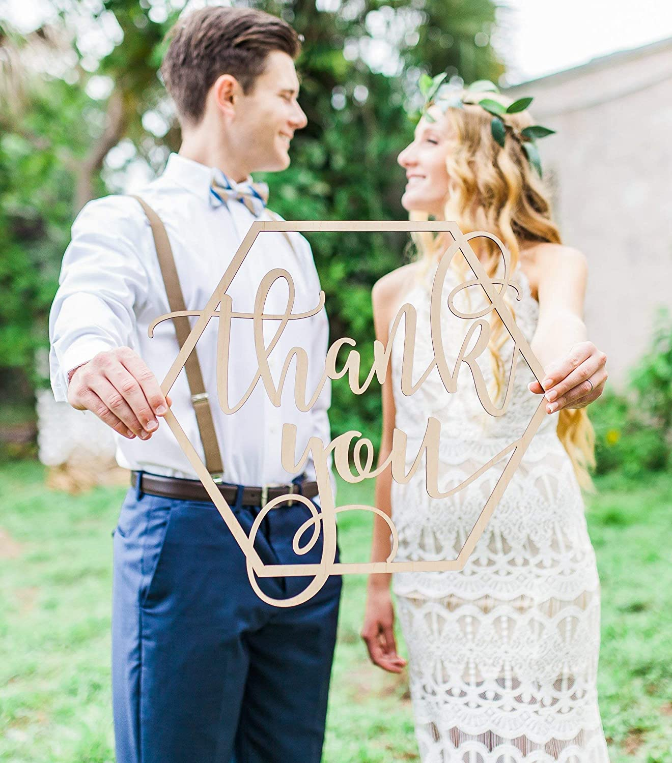 Amazon Com Wedding Thank You Sign Photo Prop Wooden Photography Sign For Portrait Bride Groom Diy Thank You Card Ideas Boho Chic Handmade