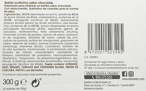 BiManán beSLIM - Batido Sustitutivo Sabor Chocolate, para ayudarte a controlar tu peso - 6 Unidades, 300g