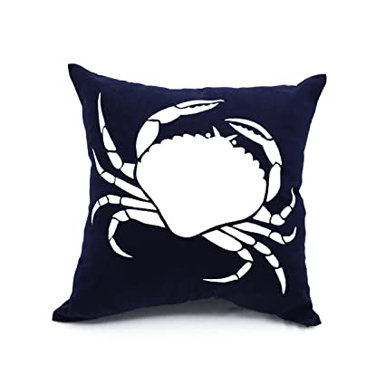 Amazon KainKain Crab Throw Pillow Cover Navy Blue Decorative Fascinating Navy And White Decorative Pillows