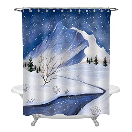 MitoVilla Winter Scene Shower Curtain With Mountain River And Tree In The Snow Watercolor Merry