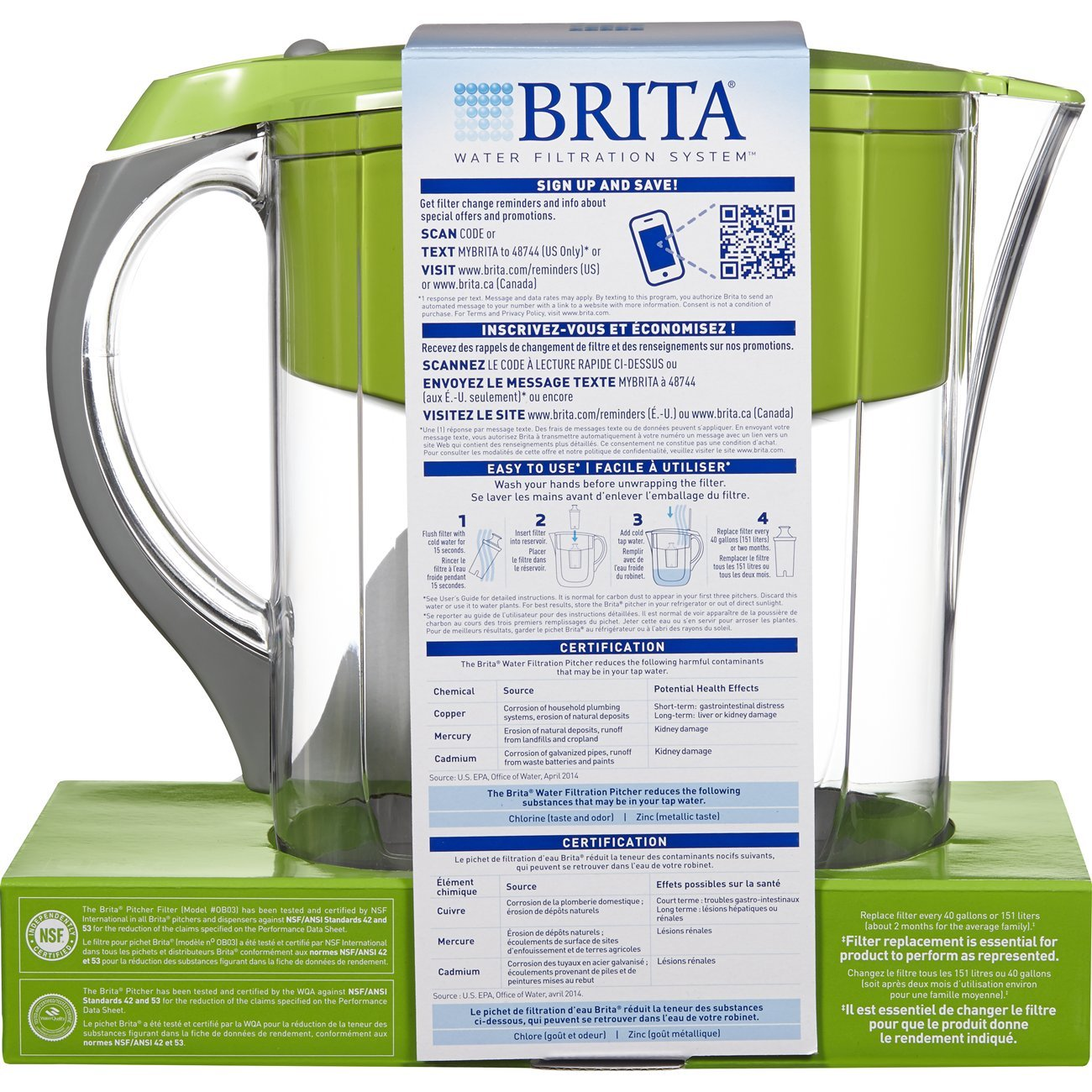 Brita Large 10 Cup Water Filter Pitcher with 1 Standard Filter, BPA Free – Grand, Multiple Colors by Brita (Image #7)
