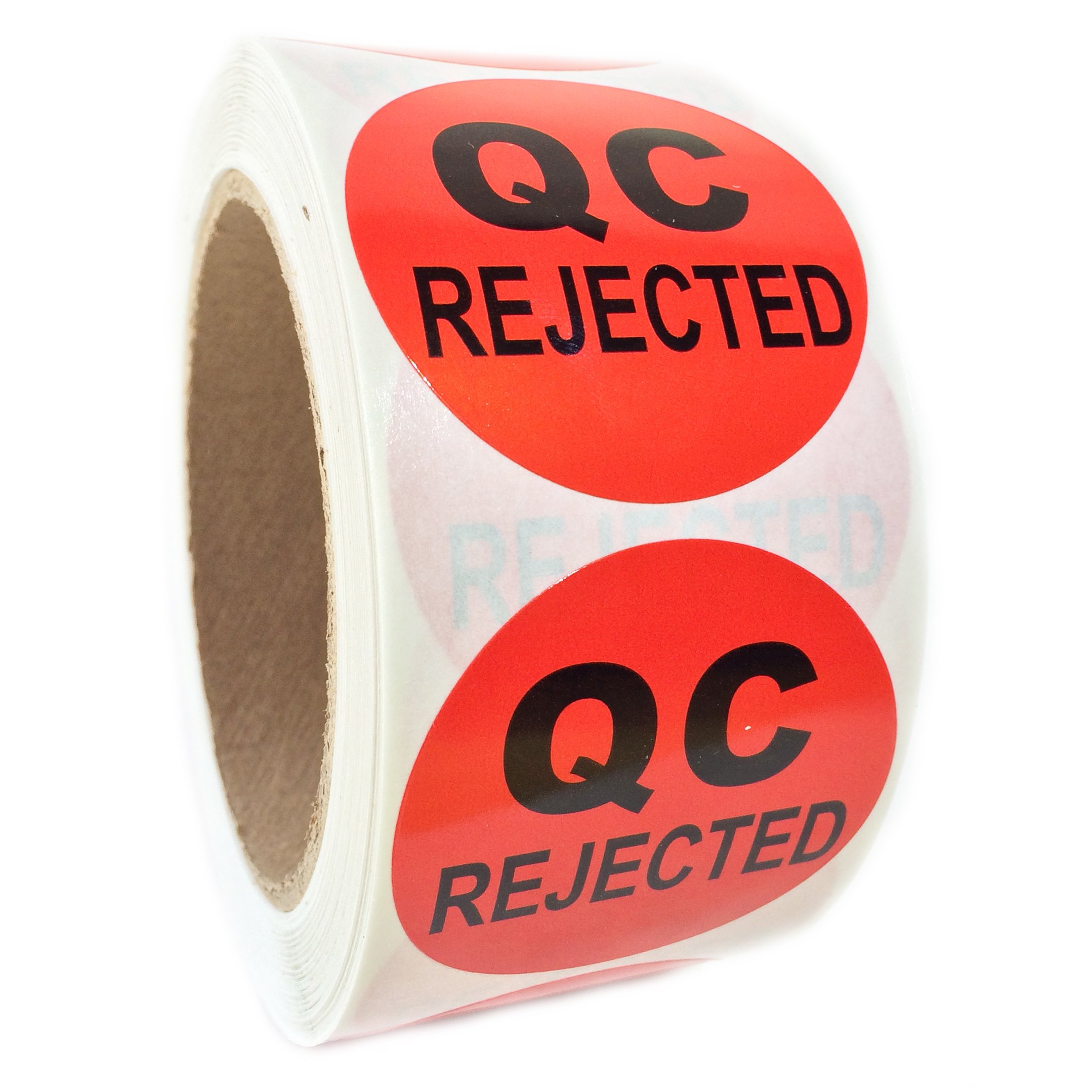 Red ''QC Rejected'' Label - 2'' diameter - 500 ct Roll