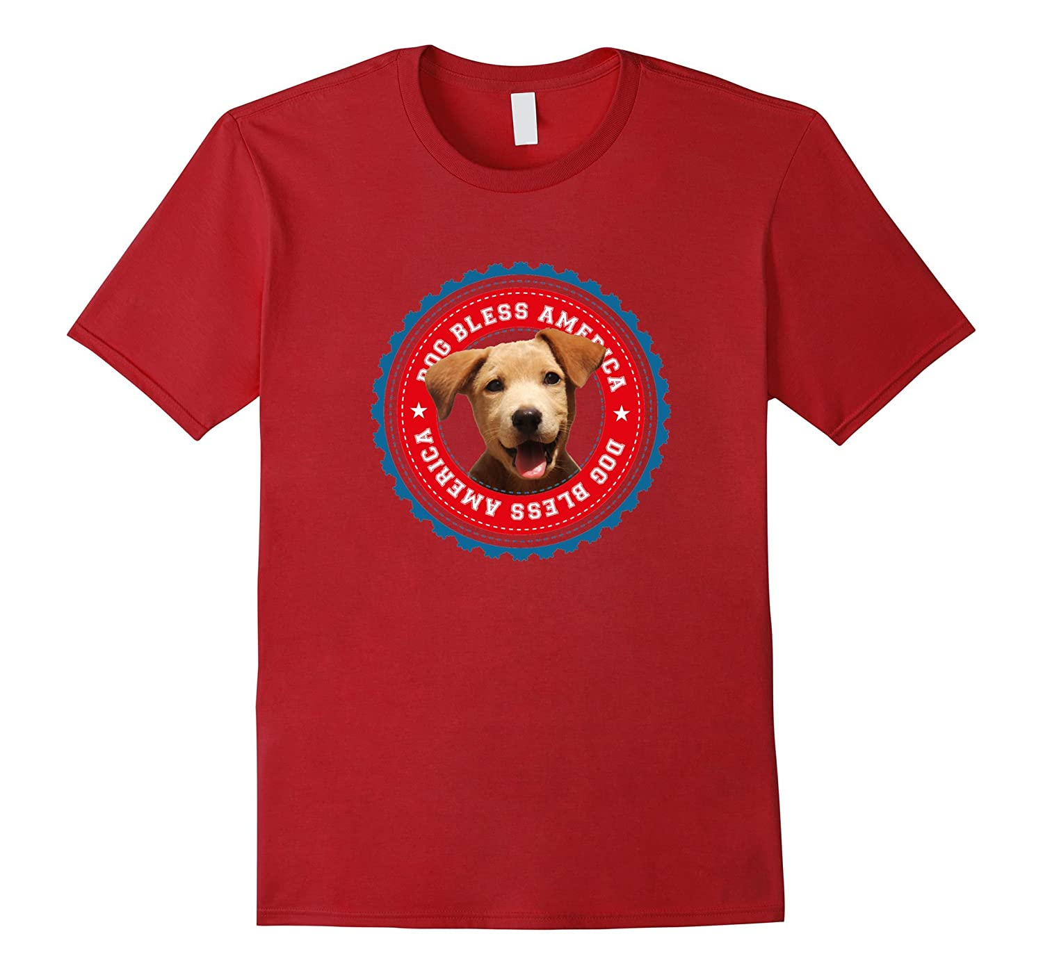Dog Bless America Funny 4th of July Patriotic Puppy T-Shirt-Art