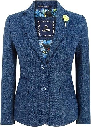 veste femme tweed bleu