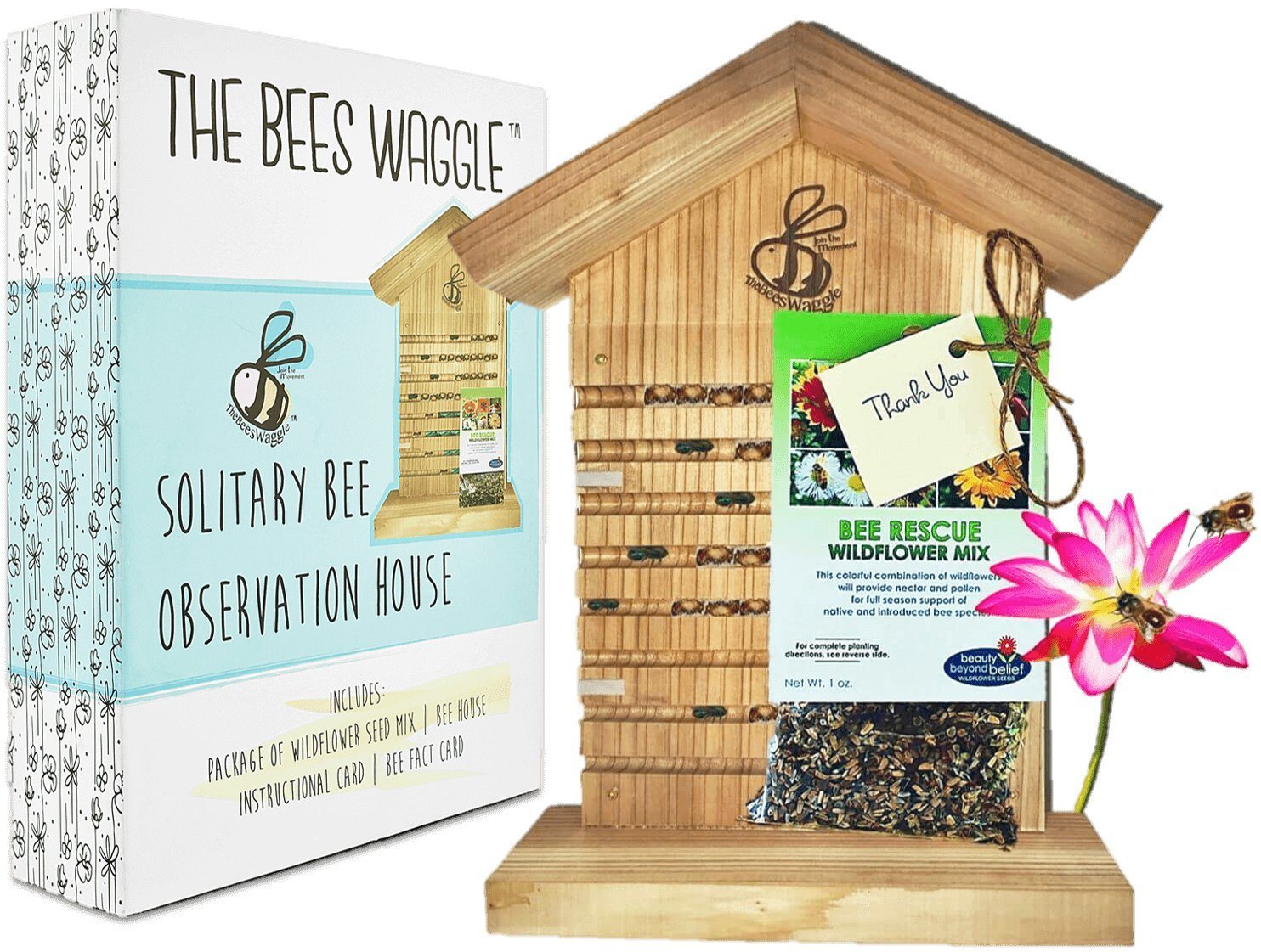 CRACK'N Special - Save $30 Now - Mason Bee House for Solitary Bees - Bonus Viewing Window, Wildflower Seeds, Guide - Wooden Beeblock Bee Home Nest to Attract Wild Native Bees to Garden - Great Gift by The Bees Waggle (Image #1)
