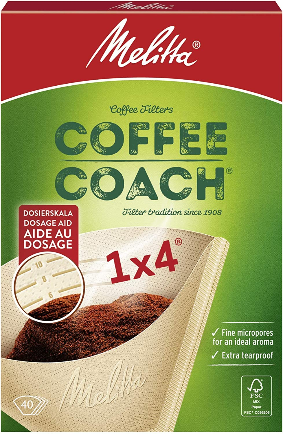 Melitta 6766425 Coffee Coach Filter Bags 1 x 4 Brown Pack of 40, Paper