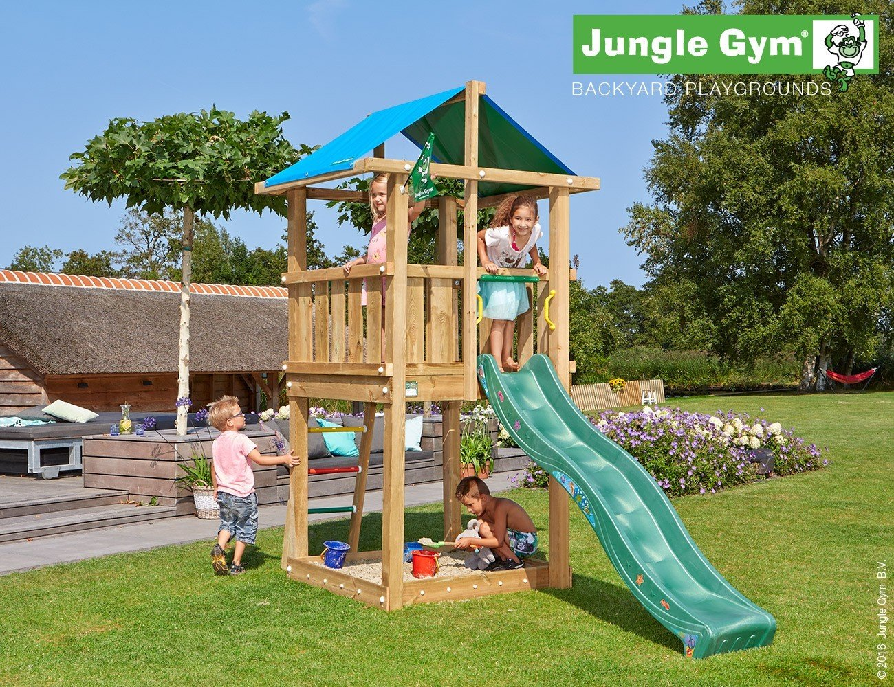 JUNGLE GYM Spielturm Jungle HUT mit Wellen-Rutsche, Komplettbausatz