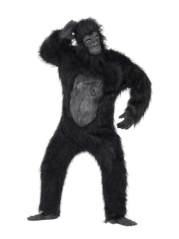 Promoción por tiempo limitado Smiffys Disfraz de gorila Deluxe, negro, body con pelo de caucho, máscara, manos y pies