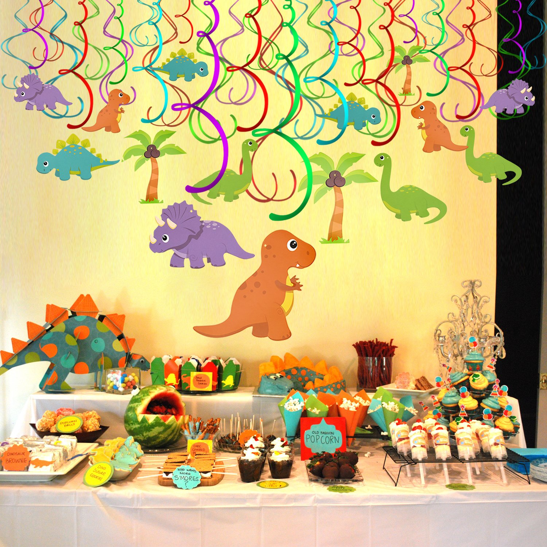 Konsait Colgante Decoraciones de Dinosaurios Fiesta cumpleaños Remolino serpentinas Adornos de espirales para Infantiles Fiestas de cumpleaños ...