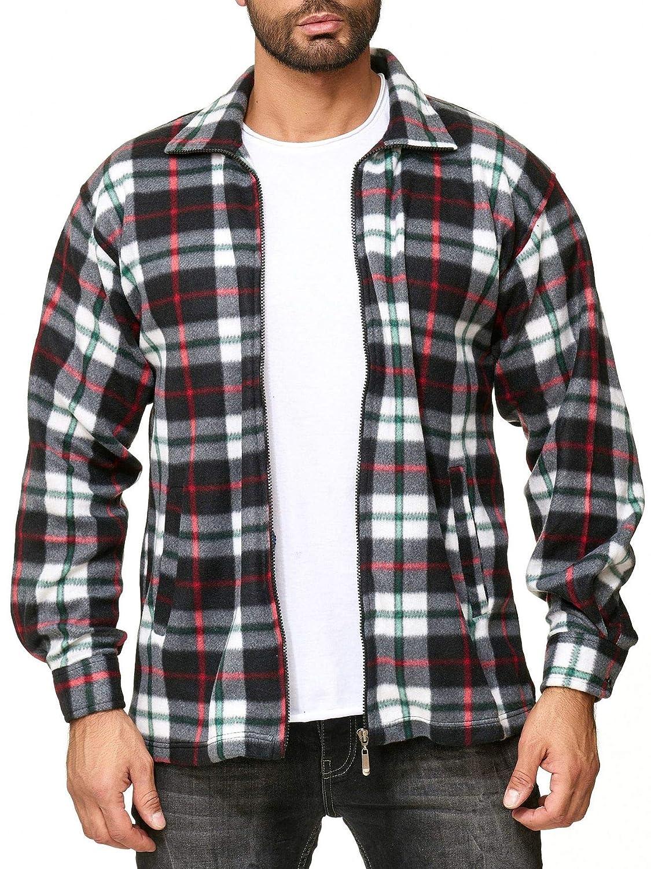 Colore:Nero-Rosso-Verde ArizonaShopping Camicia Uomo in Pile Lumberjack a Quadretti Dimensione Giacca:XXL