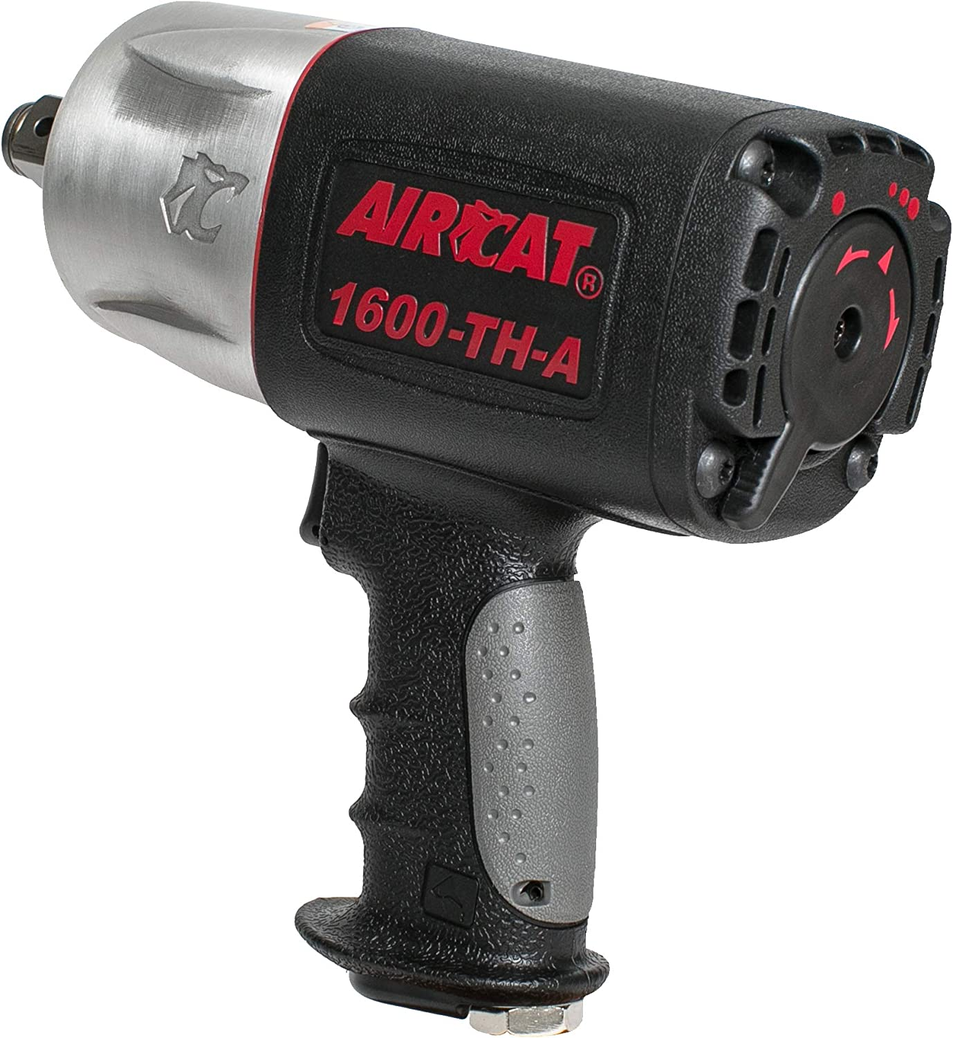 AirCat 1600-TH-A 3 4 Drive Composite Impact Wrench, Medium, Black Silver