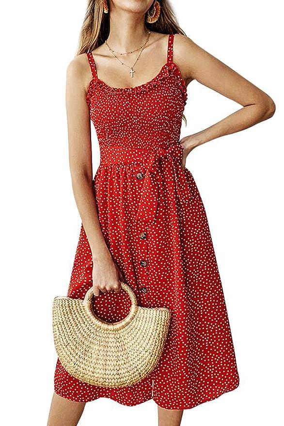 Hoymn Women's Spaghetti Button Dresses, Summer Floral Polka Dot Sleeveless Hawaiian A Line Midi Dress With Belt And Pockets by Hoymn