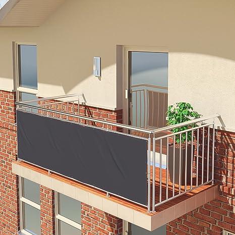 Imagen dePantalla de balcón premium de Balconio, x cm, impermeable, pantalla para balcón para tener privacidad, con cierre de cuerda incluido, poliéster, antracita, 300 x 85 cm