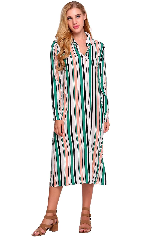 Hersife Womens Long Sleeve Button Down Vertical Striped Maxi Shirt
