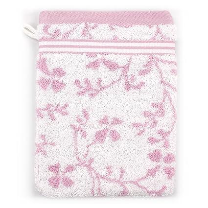 Manopla de baño (16 x 21 cm) - Diseño vintage floral, color rosa ...