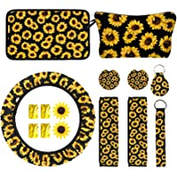 15xPCS Sunflower Car Accessories Sunflower Gifts for Women Sunflower Keychain Sunflower Steering Wheel Cover Sunflower…