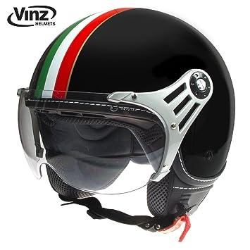 Casco de motocicleta Vinz, tipo jet, con bandera de Italia, color engro,