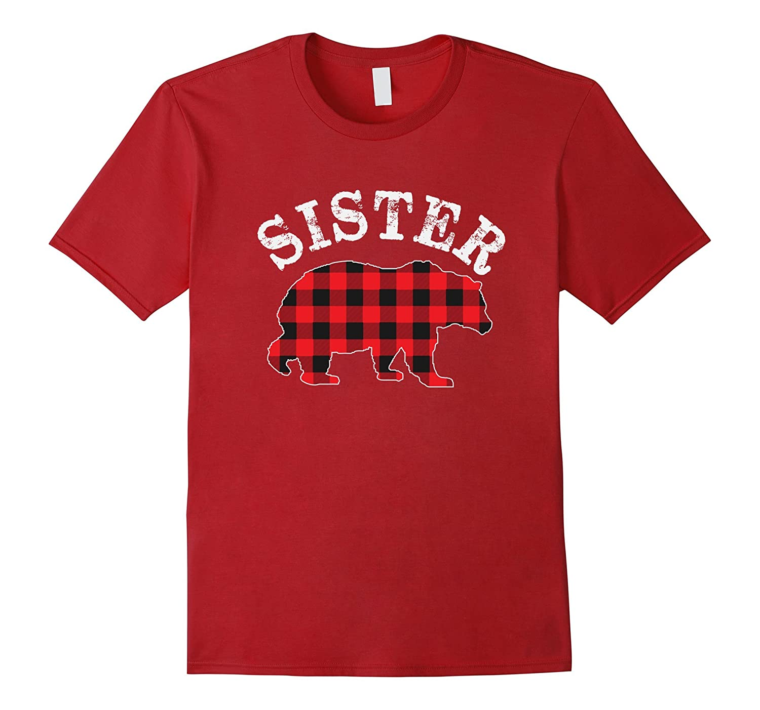 317fd6ead Red Plaid Sister Bear Matching Buffalo Family Pajama T-Shirt-ANZ ...