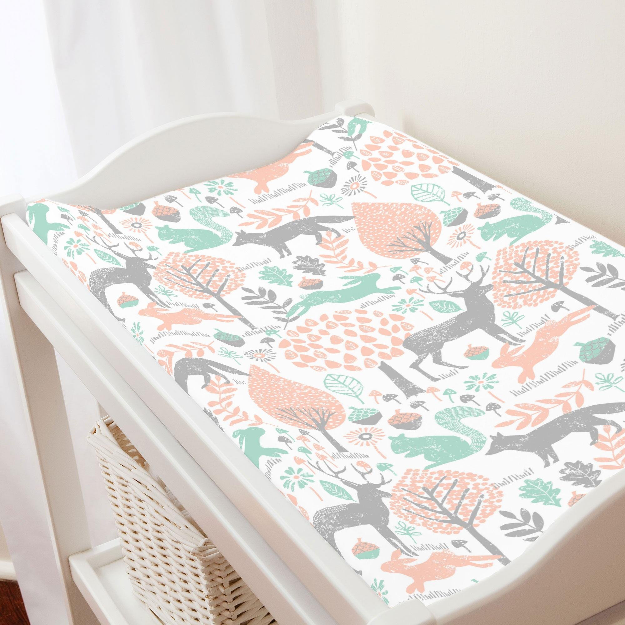 Carousel Designs Gray and Peach Woodland Animals Changing Pad Cover - Organic 100% Cotton Change Pad Cover - Made in The USA by Carousel Designs