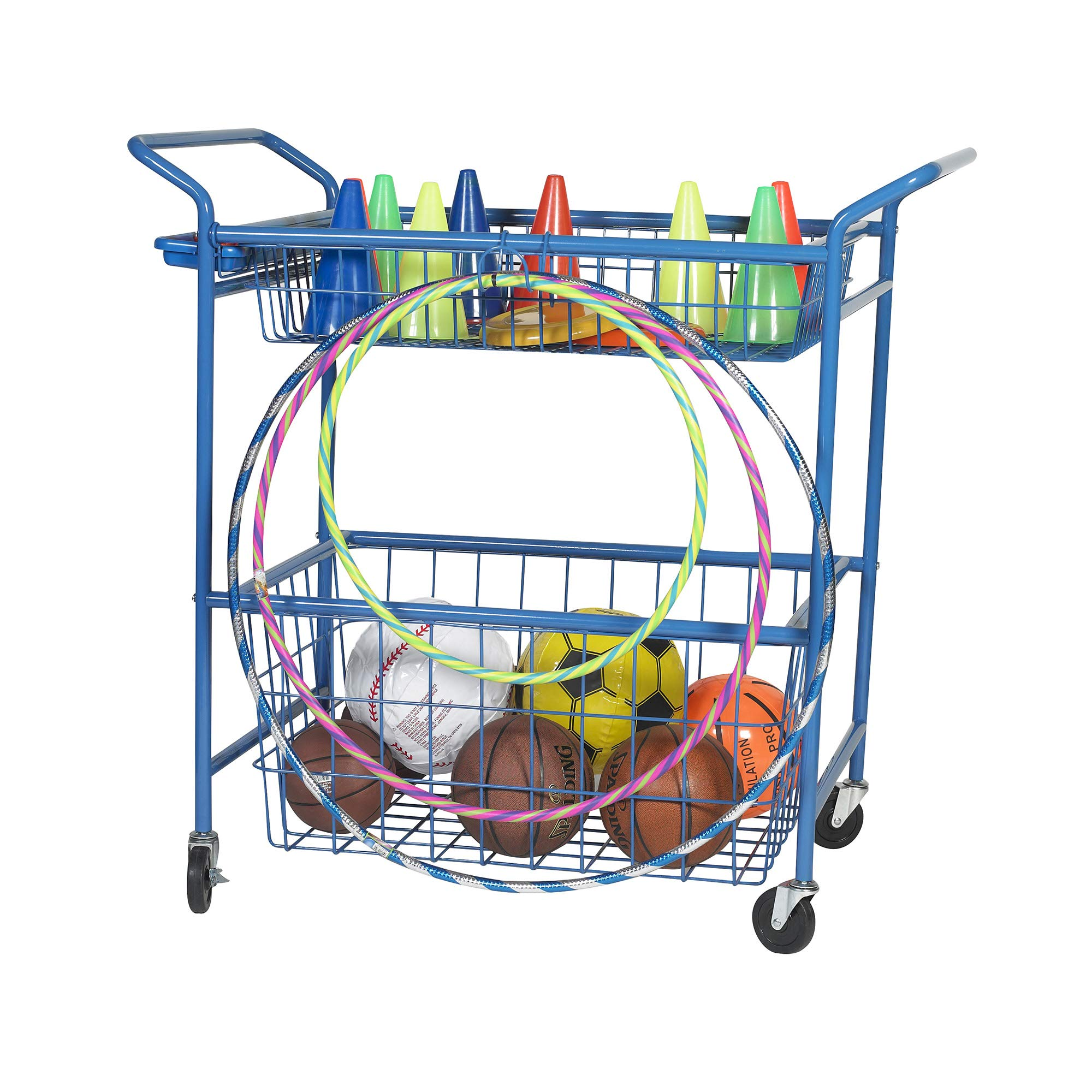 Angeles Classroom Essentials Activity Cart, Blue - 46'' by 26'' by 45'' - Constructed of Sturdy Steel for Storage of Large or Small Items, a Convenient Hook and Handlebar Tray -Easy to Roll on 4 Casters by Angeles