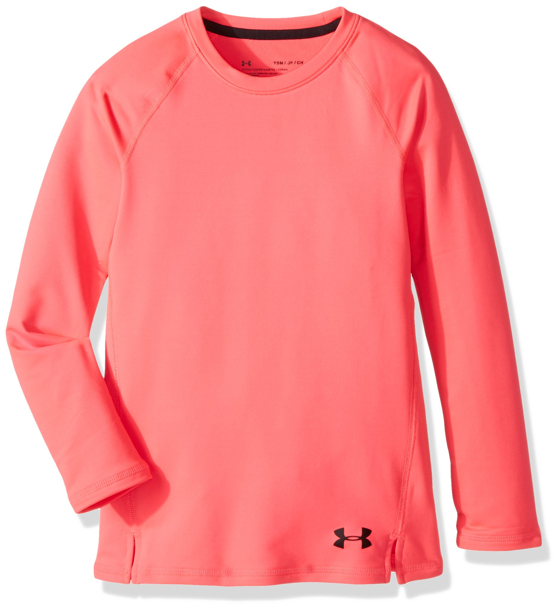 Under Armour Girls' ColdGear Crew Neck,Penta Pink (975)/Black, Youth Large