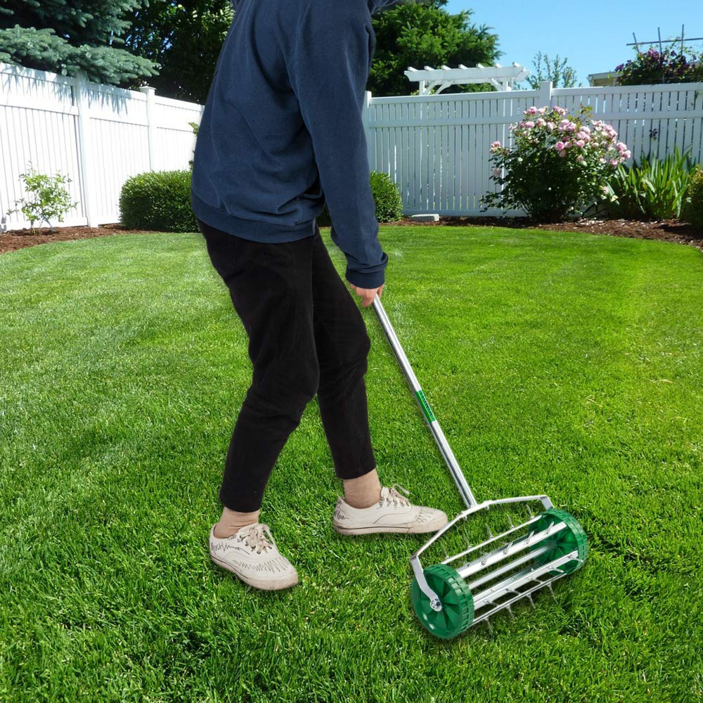VINGLI Rolling Lawn Aerator with 51'' Handle, Push Spike Tine Roller for Home Garden Yard Patio Grass Soil Aeration, Roller Secured by Fasteners by VINGLI (Image #8)