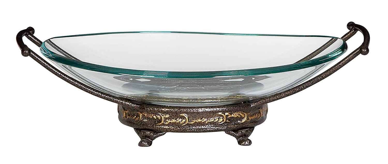 Deco 79 Glass Metal Bowl, 17 by 5-Inch 68504