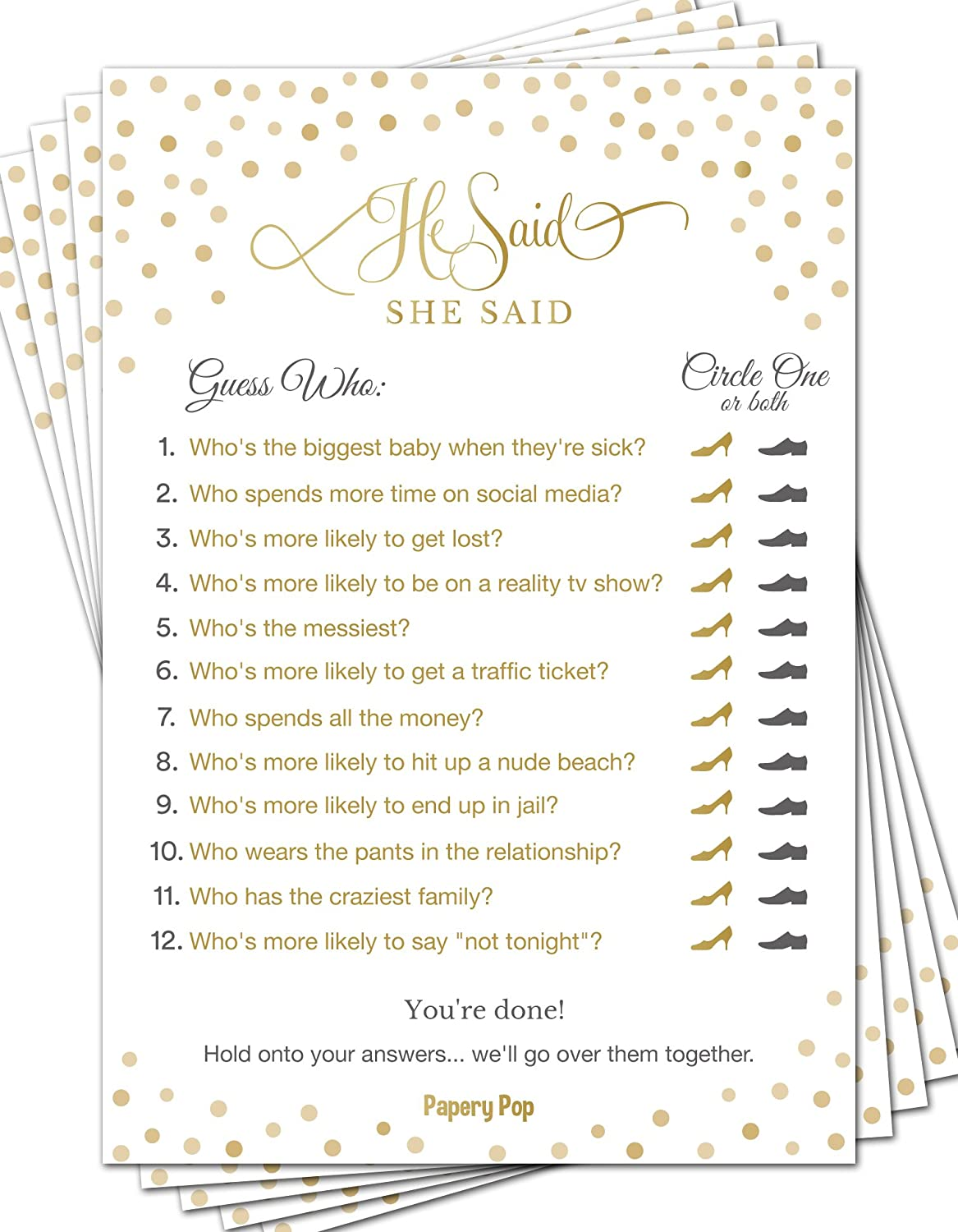 photograph relating to Would She Rather Bridal Shower Game Free Printable known as He Mentioned She Stated (50 Pack) - Bridal Shower Game titles - Wedding day Shower Video games - Wedding ceremony Online games - Bachelorette Celebration Online games - Gold
