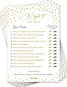 He Said She Said (50 Pack) - Bridal Shower Games - Wedding Shower Games - Wedding Games - Bachelorette Party Games - Gold